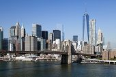 picture of freedom tower  - The New York City skyline at afternoon w the Freedom tower and Brooklyn bridge - JPG