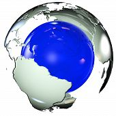 pic of lithosphere  - earth map wrapping a bright blue sphere - JPG