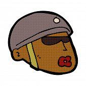 pic of policeman  - retro comic book style cartoon policeman head - JPG