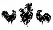 picture of black-cock  - Set of cocks silhouettes for logo or tattoo - JPG