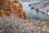 picture of horsetooth reservoir  - Old sandstone quarry on the shore of Horesetooth Reservoir near Fort Collins - JPG