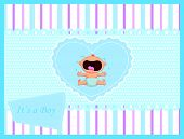foto of crying boy  - Vector illustration of Cartoon baby boy crying card - JPG