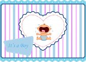 image of crying boy  - Vector illustration of Cartoon baby boy crying card - JPG