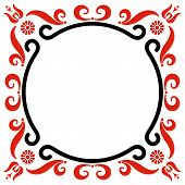 picture of hungarian  - Rounded frame with Hungarian motives decoration on white - JPG
