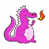 foto of fire-breathing  - retro comic book style cartoon fire breathing dragon - JPG