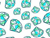 stock photo of emerald  - Vector illustration of pattern of green emeralds of different sizes on white background - JPG