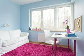 picture of carpet  - Cute stylish children apartment with fluffy pink carpet - JPG