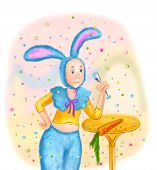 image of hare  - illustratiom cartoon man in costume of hare - JPG