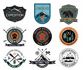 Постер, плакат: Set of vintage camping and outdoor activity logo National parks and tourism symbol