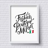 pic of boutique  - Stylish Text for Fashion Boutique Milan Concept with Small Italian Flag and a Hanger on a White Frame Hanging on a White Brick Wall - JPG