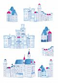 picture of winter palace  - Winter medieval castles design vector elements - JPG