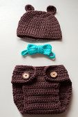 picture of baby bear  - crochet bear costume for newborn baby in brown colour - JPG