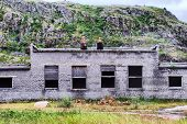 stock photo of collapse  - collapsed abandoned house within the Arctic circle  - JPG