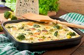 stock photo of lenten  - Tasty Quiche with broccoli and feta cheese  - JPG
