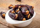 picture of lenten  - Oriental sweets - sun dried dates stuffed with cashew ** Note: Shallow depth of field - JPG