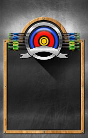picture of fletching  - Empty blackboard with wooden frame and metallic archery symbol - JPG