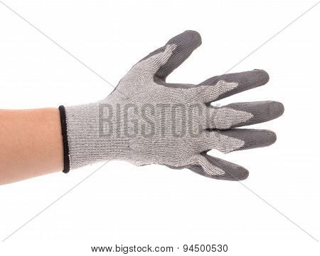 Close up of gray rubber glove on hand.