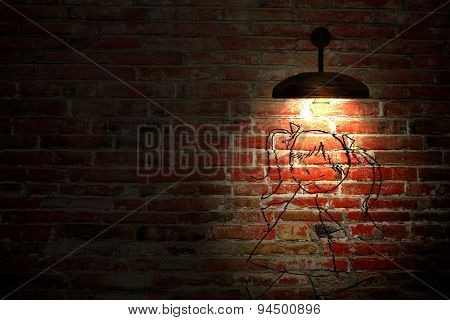Old Interior Room With Brick Wall And Three Light Spots