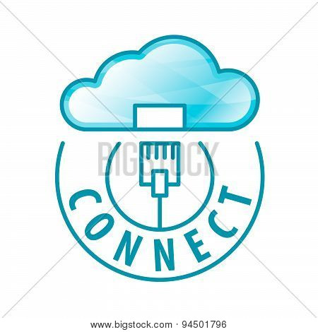 Vector Logo Cloud Connection To Network