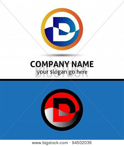 Abstract icon logo for letter D
