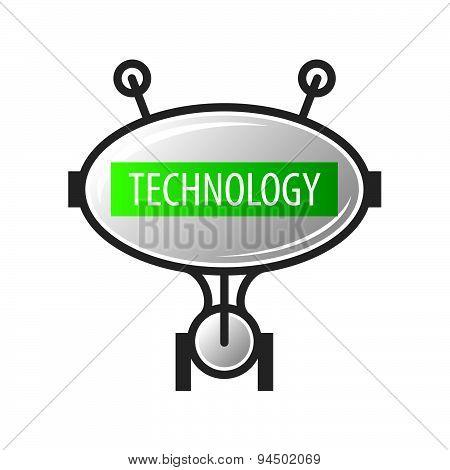 Vector Logo Robot Technology With Antennas