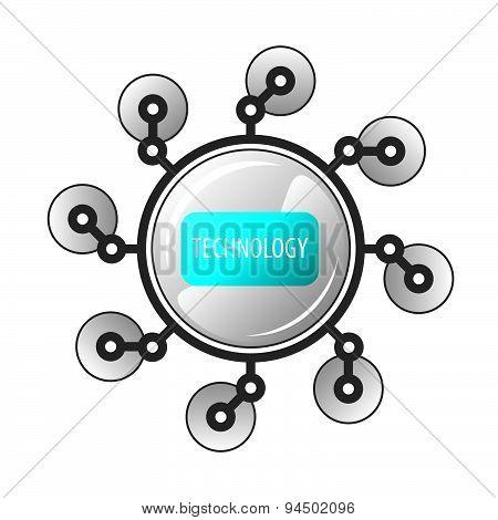 Vector Logo Round Robot Legged