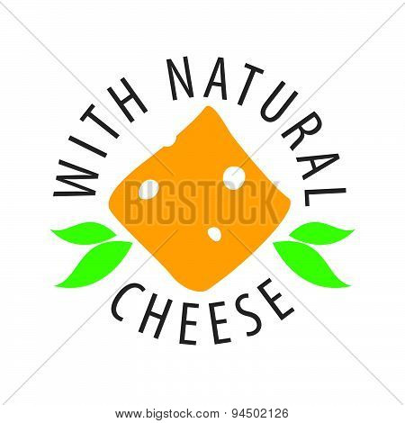 Vector Logo Slice Of Cheese And Leaves