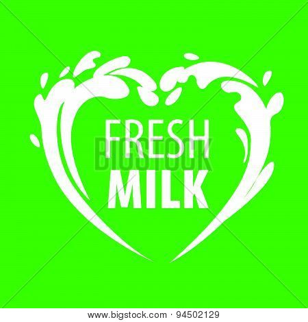 Vector Logo Splashes Of Milk In The Form Of Heart