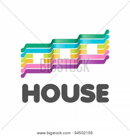 Vector Logo Striped Colorful Houses
