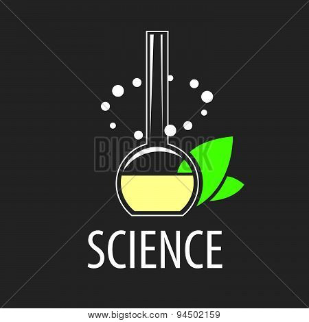 Vector Logo Test-tube With Liquid And Leaves