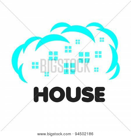 Vector Logo Windows Of Houses In The Clouds