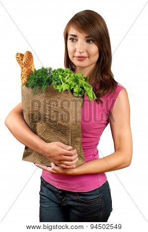 Beautiful Woman Holding A Bag Of Groceries