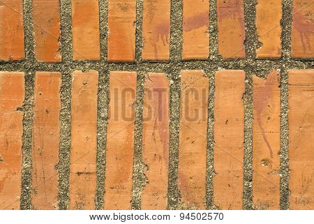 Wall Of Red Bricks. Background