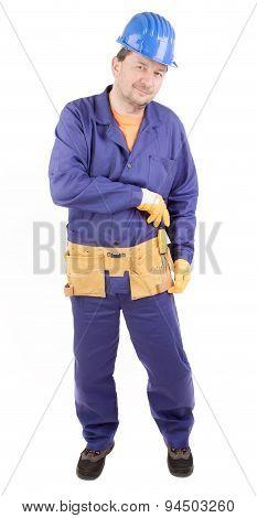 Worker holding screwdriver.