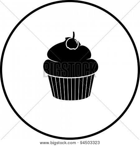 cupcake with cherry symbol