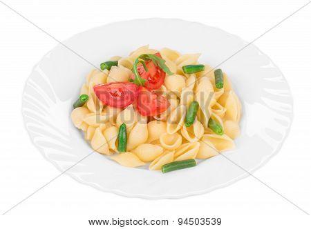 Tasty italian pasta with tomato as haute cuisine.