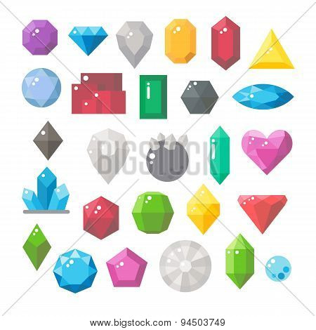 Flat Design Of Gemstones Set
