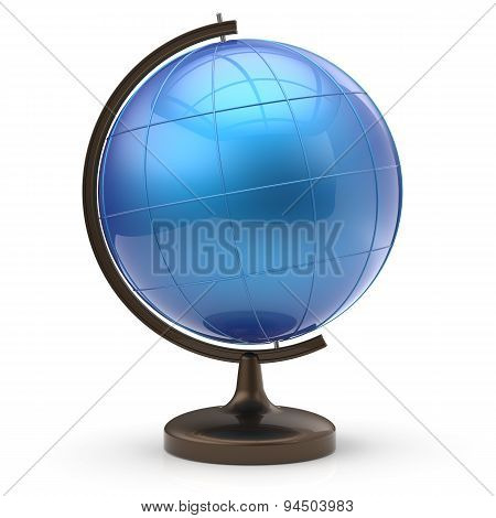 Blue Globe Blank Sphere Planet Earth Geography Studying Icon