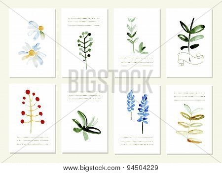 Hand drawn collection of romantic floral invitations.   Isolated.