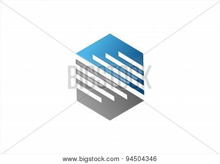 construction abstract company logo, hexagon element geometry cube, line modern build square symbol i