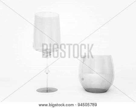 3d rendered, wine and whisky glass