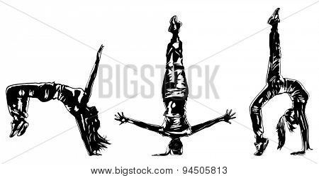 Young woman hip-hop dancer three silhouettes on white background.
