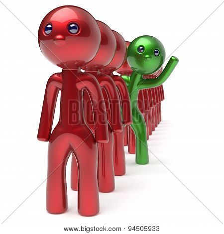 Different People Character Green Individuality Person Red Crowd