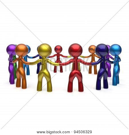 Human Resources Teamwork Stylized Men Together Circle Chain