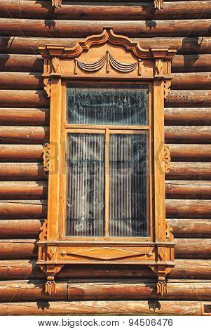 Old Wooden Window In Tomsk, Russia