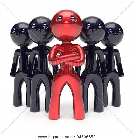 Teamwork Leadership Stylized Red Character Men Boss Icon