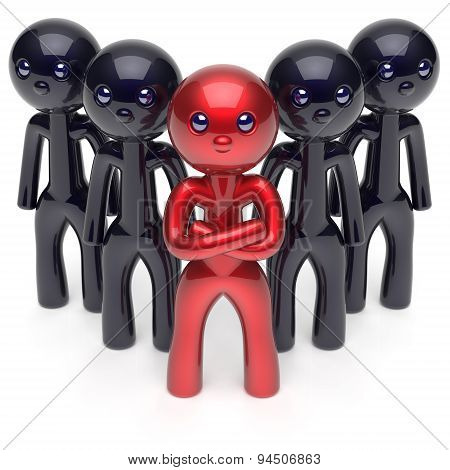 Leadership Stylized Red Character Teamwork Men Crowd Icon