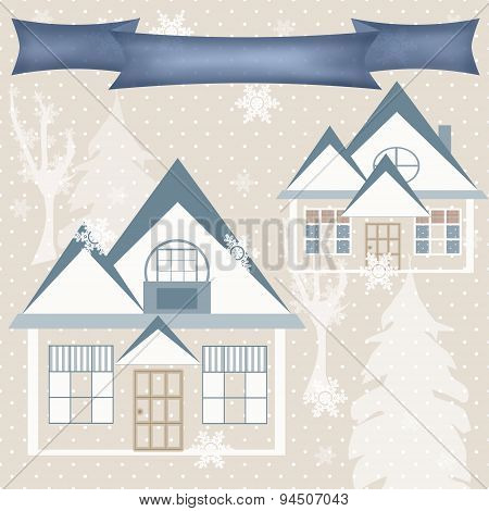 Background Retro Christmas Design Nature Winter Picture Illustration