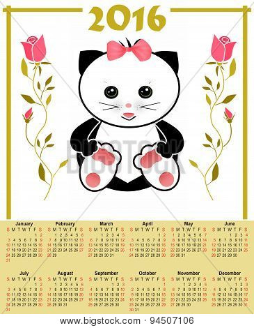 Illustration Calendar For 2016 In Kids Design With Toy Cute Cat