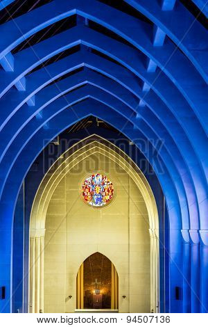 Altar On Yellow Wall Under Blue Arches